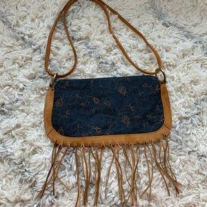 Vintage XOXO Crossbody Handbag Denim Fringe